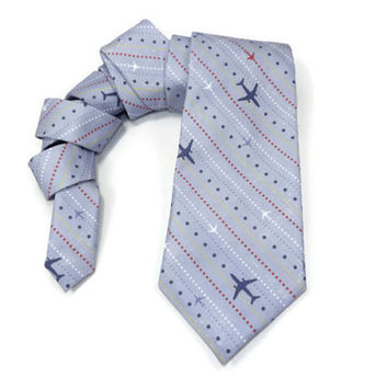 Airplane tie, air plane tie, pilot tie, mens tie, air plane necktie, mens airplane tie, pilot gift, aircraft tie, plane tie, airplane stripe