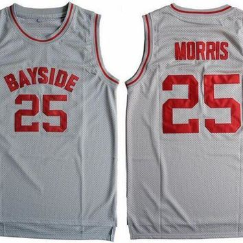 ESBON Cheap Basketball Jersey Sleeveless Throwback Zack Morris #25 Bayside Tigers Saved By The Bell Gray S-3XL