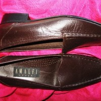 AMALFI SHOES BROWN CHOCOLATE LEATHER FLAT LOAFERS ! S 9 B/39,5 MADE IN ITALY !