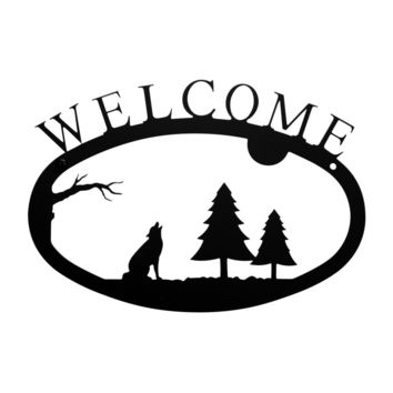 Wrought Iron Timber Wolf Welcome Home Sign Small