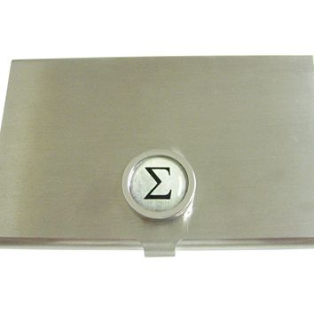 Bordered Mathematical Greek Sigma Symbol Business Card Holder