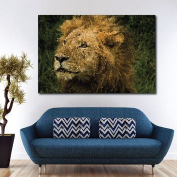 Lion Stained Glass Art Canvas Print