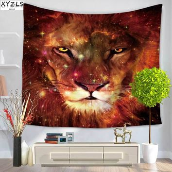 XYZLS 150*200cm Polyester Wall Tapestry Lion Decoration Tapestry Lion Portrait Beach Towel Yoga Mat Sofa Cover