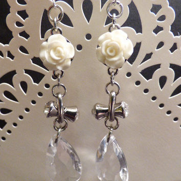 White Roses and Crystal Teardrop Earrings