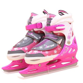 1 Pair Adult Women Children Ice Blade Skates Shoes Adjustable Ice Blade Thermal Adjustable Figure Skating 2 Colors For Girls