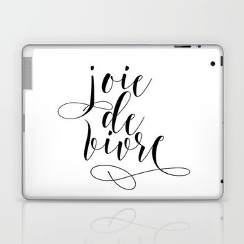 JOIE DE VIVRE, French Quote, French Poster, Inspirational Quote,Typography Print Laptop & iPad Skin by NikolaJovanovic