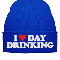 i heart day drinking embroidery hat  - Beanie Cuffed Knit Cap