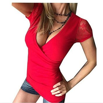 3 Colors Fashion Women Ladies Summer Short Sleeve V Neck Loose T-Shirt Casual T Shirt Hot Girls Womens Tops Blusas