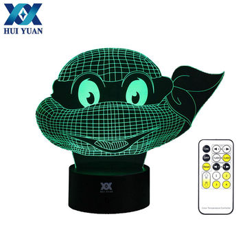 Teenage Mutant Ninja Turtles 3D Night Light RGB Changeable Mood Lamp LED Light DC 5V USB Decorative Table Lamp Get a free remote