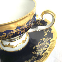 Antique Heavy Gold Gilt Echt Weimar-Kobalt Tea Cup and Saucer/Katharina Pattern/Made in Germany/Elegant Tea Party
