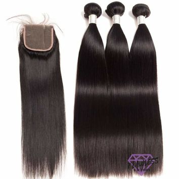Peruvian Silky Straight Hair Extensions 3 Bundles With Lace Closure