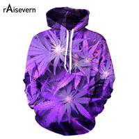 Raisevern New Harajuku 3D Hoodie 3D Purple Weed Leaf Print Sweatshirt Fashion Hooded Sweatsuits Tops Plus Size S-XXL Dropship