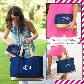 Navy and Gold Cabana Tote with matching Make Up Bag