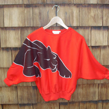 Red Hot Vintage Black Panther Print Sweater Fredericks of Hollywood 80's