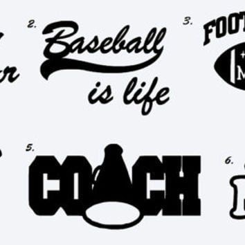Sports Car Decals, Window Sticker, Cheer Car Decal, Baseball Mom, Car Decal