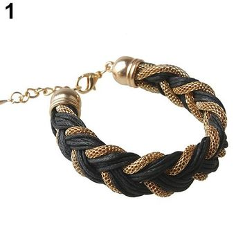 New Fashion Women's Hollow Chain Faux Leather Braided Cuff Bracelet Fashion Jewelry Gift 5 Colors 7DMV