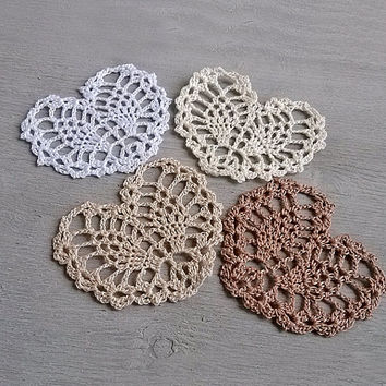 Little beige crochet heart Appliques shapes small hearts Pineapple pattern Beautiful ananas motif crocheted lace Embellishments ornaments