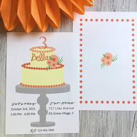 Birthday Invitation, party printables, Orange and yellow, Cake and flowers, simple and modern, printable, Girl birthday, citrus,