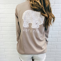 Pocketed Taupe Butterfly Lace Print