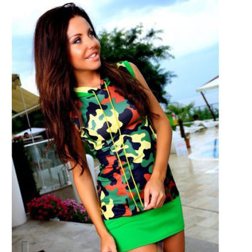 Sleeveless Hooded Camouflage Bodycon Sexy Casual Patchwork Short Dress