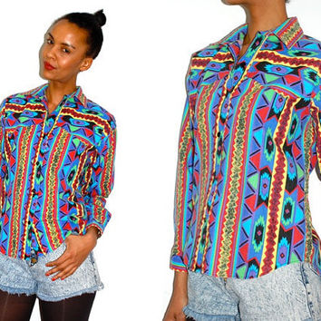 Vtg Neon Tribal Colorful Button Down LS Western by LuluTresors