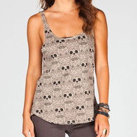 FULL TILT Skull Print Cut Out Womens Tank