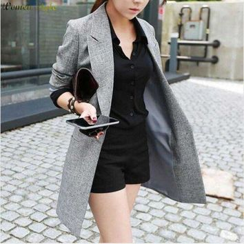 ICIKHY9 2016 Hot Selling  Spring Women Casual Long Thin Blazers Coats Notched Collar Full Sleeve Single Button Fashion Cardigans   Y99