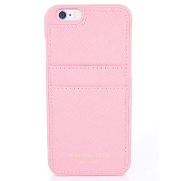 Michael Kors Dark Pink Leather Look Snap-On iPhone 6 Case