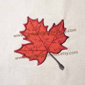 Maple Leaf Applique - Machine Embroidery Design - Instant Download - 4x4 and 5x7 - (7 formats plus SVG included)