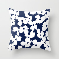 Dogwood: Navy Throw Pillow by Eileen Paulino