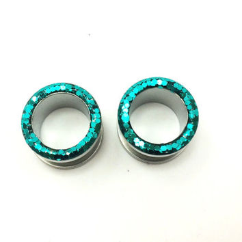 Teal sparkle plugs / glitter tunnels / 8g, 6g, 4g, 2g, 0g, 00g, 7/16, 1/2, 9/16, 5/8, 11/16, 3/4 & 1 inch / prom gauges / aqua tunnel plugs