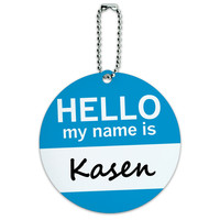 Kasen Hello My Name Is Round ID Card Luggage Tag