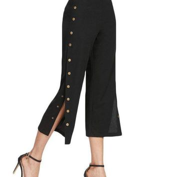 Black Pants Women Side Metal Button Elegant Mid Waist Brief Cropped Pants Spring Fashion Zip Slim Office Pants