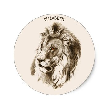 Vintage Lion With Orange Eyes Transparent Drawing Classic Round Sticker