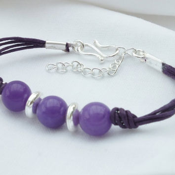 Purple Bracelet, Purple Stone Jewellery UK, Purple Bead Bracelet, Wax Cord Bracelet with Purple,