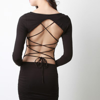 Backless Corset Lace Up Bodycon Dress