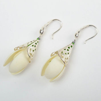 Handmade tender dangling earrings with white cold porcelain snowdrop flowers
