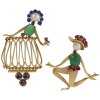 Cartier Retro 'Romeo and Juliet' Jeweled Brooches