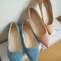 Faux Suede Casual Pointed Flats