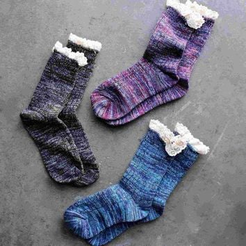 CREYON marled crew socks with lace (6 colors) Day First