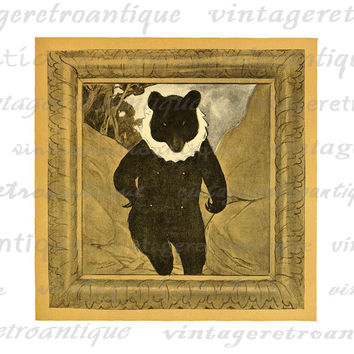 Bear in Winter Coat Graphic Image Digital Antique Animal Printable Download Vintage Clip Art for Transfers etc HQ 300dpi No.1731