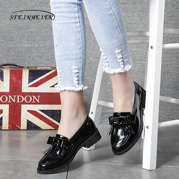 Women genuine leather brogue oxford shoes woman tassel bow simple handmade vintage retro casual black flat shoes for women