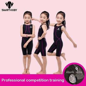 HXBY Competition Swimsuit For Girls One Piece Children's Professional Swimming Suit For Girl Competitive Swimwear Kids Knee Swim