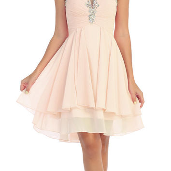 Starbox USA S6099 Beaded Ruched Bust Champagne Chiffon A-line Short Prom Dress Sweetheart Neck