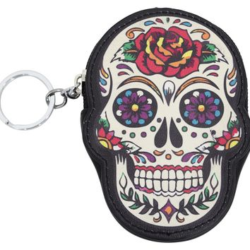 Banned Rose Sugar Skull Dia De Muertos Coin Purse wallet