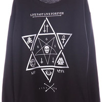 ROMWE | Star&Skull Print Black Loose Sweatshirt, The Latest Street Fashion