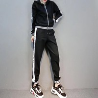 """Armani"" Women Casual Fashion Multicolor Letter Long Sleeve Zip Cardigan Hooded Trousers Set Two-Piece Sportswear"