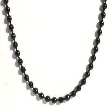 Black Stainless Steel 36 Inch 2mm Ball Link Neck Chain Necklace