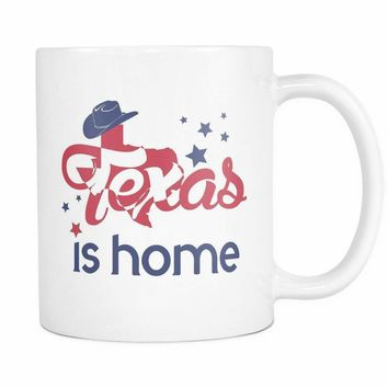 TEXAS IS HOME * Rodeo Cowgirl Hat & Stars * White Coffee Mug 11oz.