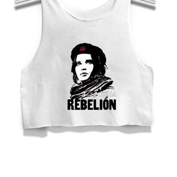 ESBGW7 Viva La Rebellion Jyn Erso Che Guevara Star Wars Rogue One Womens Crop Tank Top